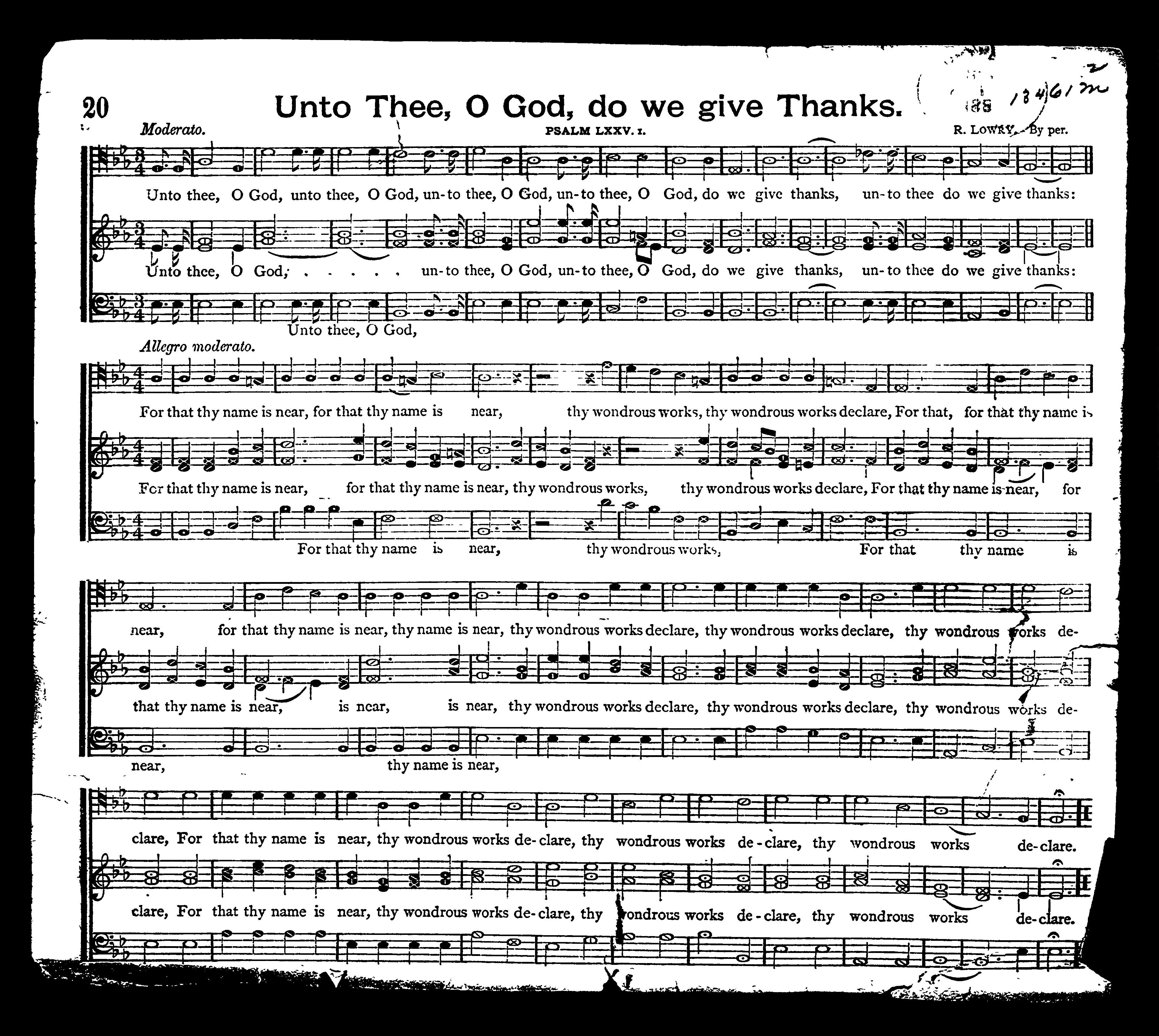 Unto thee, o God, do we give thanks | Library of Congress