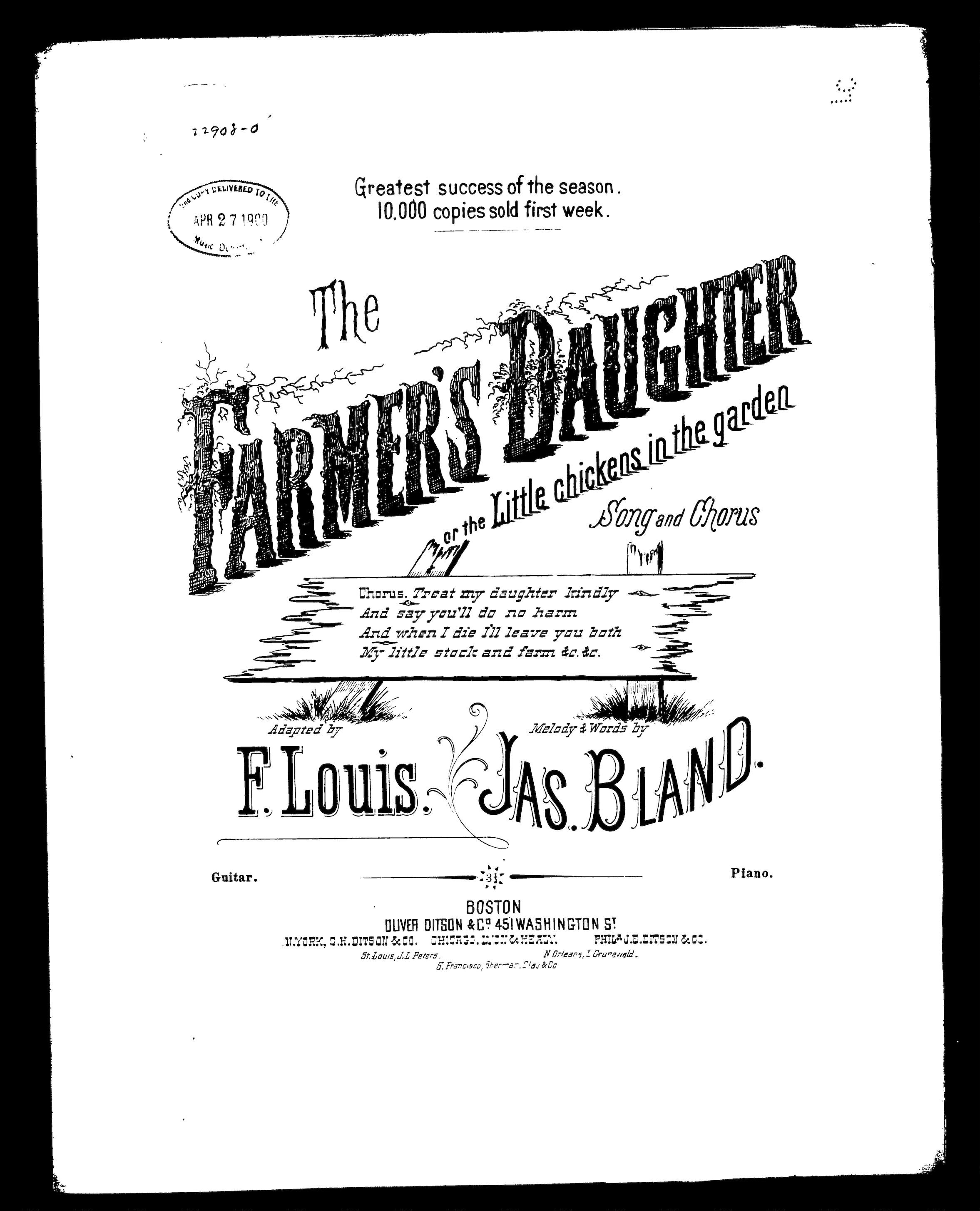 The Farmer's daughter; or, The Little chickens in the garden. From the Library of Congress sheet music collection.
