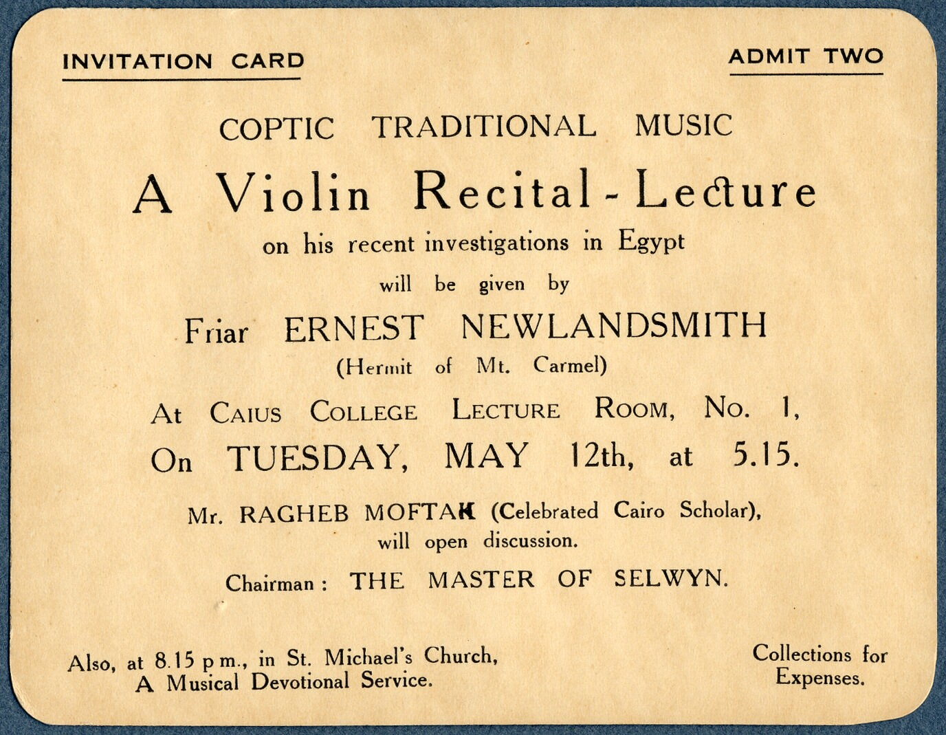 Invitation card coptic traditional music a violin recital lecture invitation card coptic traditional music a violin recital lecture friar ernest newlandsmitand mr ragheb moftah caius college cambridge thecheapjerseys Image collections