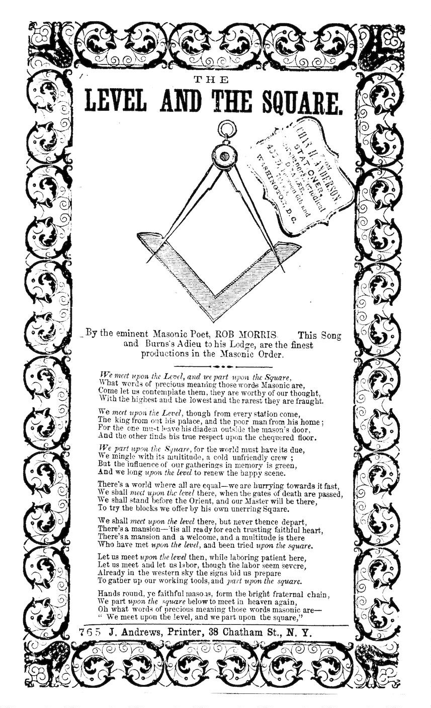 The level and the square by the eminent masonic poet rob morris j the level and the square by the eminent masonic poet rob morris j andrews printer 38 chatham st n y library of congress m4hsunfo