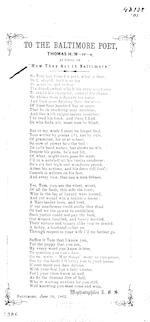 "To the Baltimore poet, Thomas H. M-rr-s, author of ""How they act in Baltimore."" Baltimore June 10, 1862"