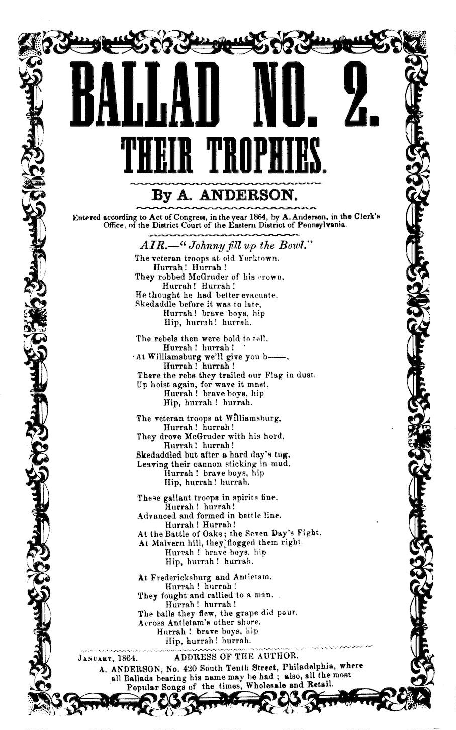 Ballad No  2  Their trophies  By A  Anderson, No  420 South
