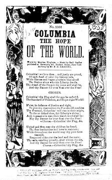 Columbia the hope of the world. By Maurice Bingham. J. Wrigley, publisher of songs. No. 27 Chatham Street, New York
