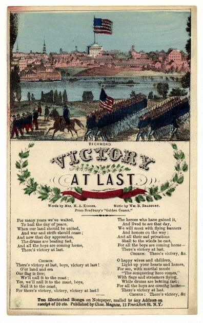 Victory at last. Words by Mrs. M. A. Kidder, music by Wm. B. Bradbury [song sheet]