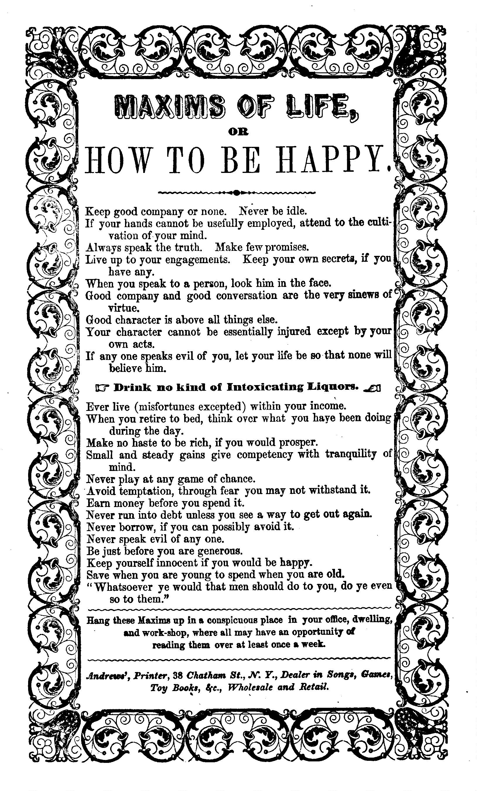 Maxims Of Life Or How To Be Happy Andrews Printer 38 Chatham Street N Y