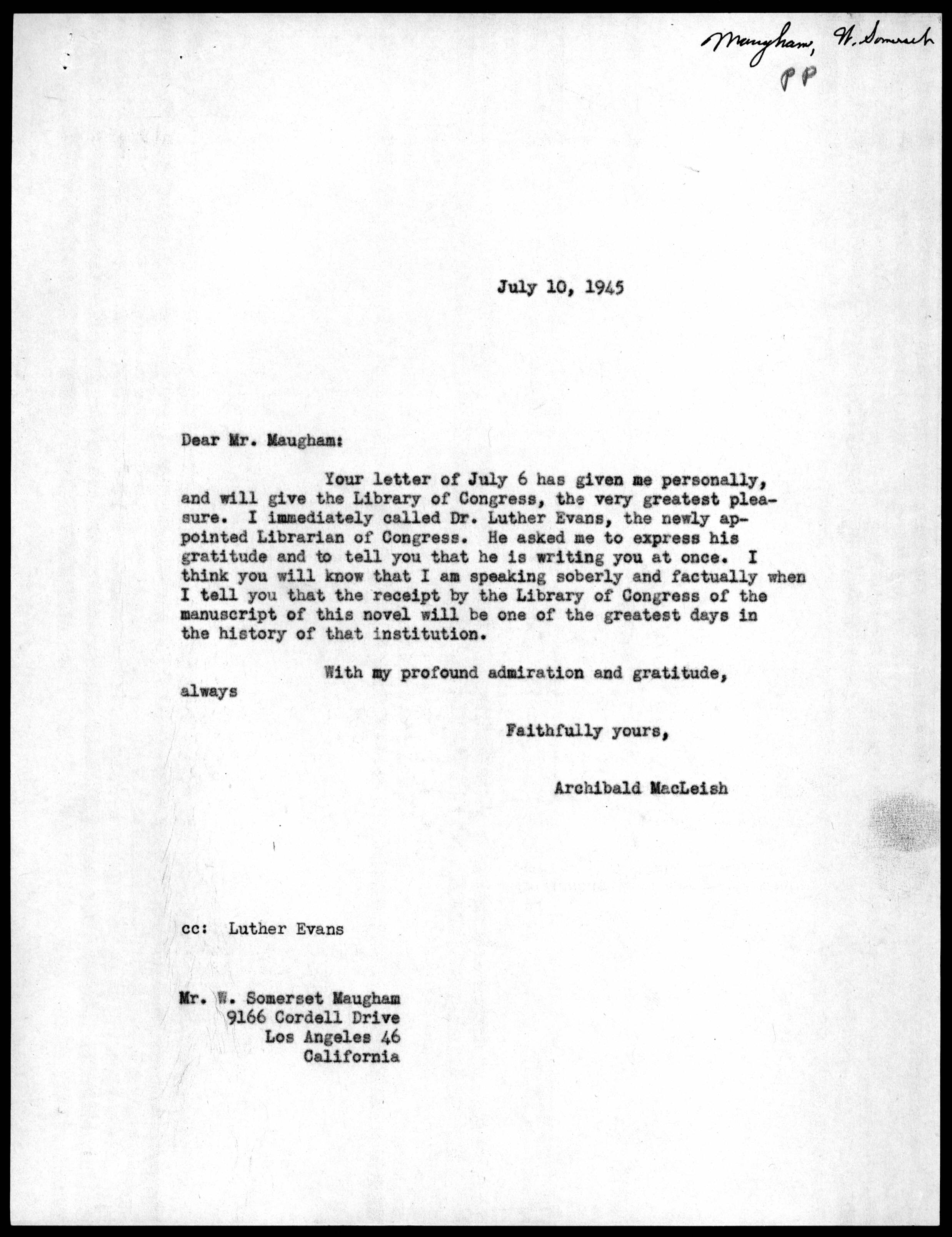 letter from archibald macleish to w  somerset maugham