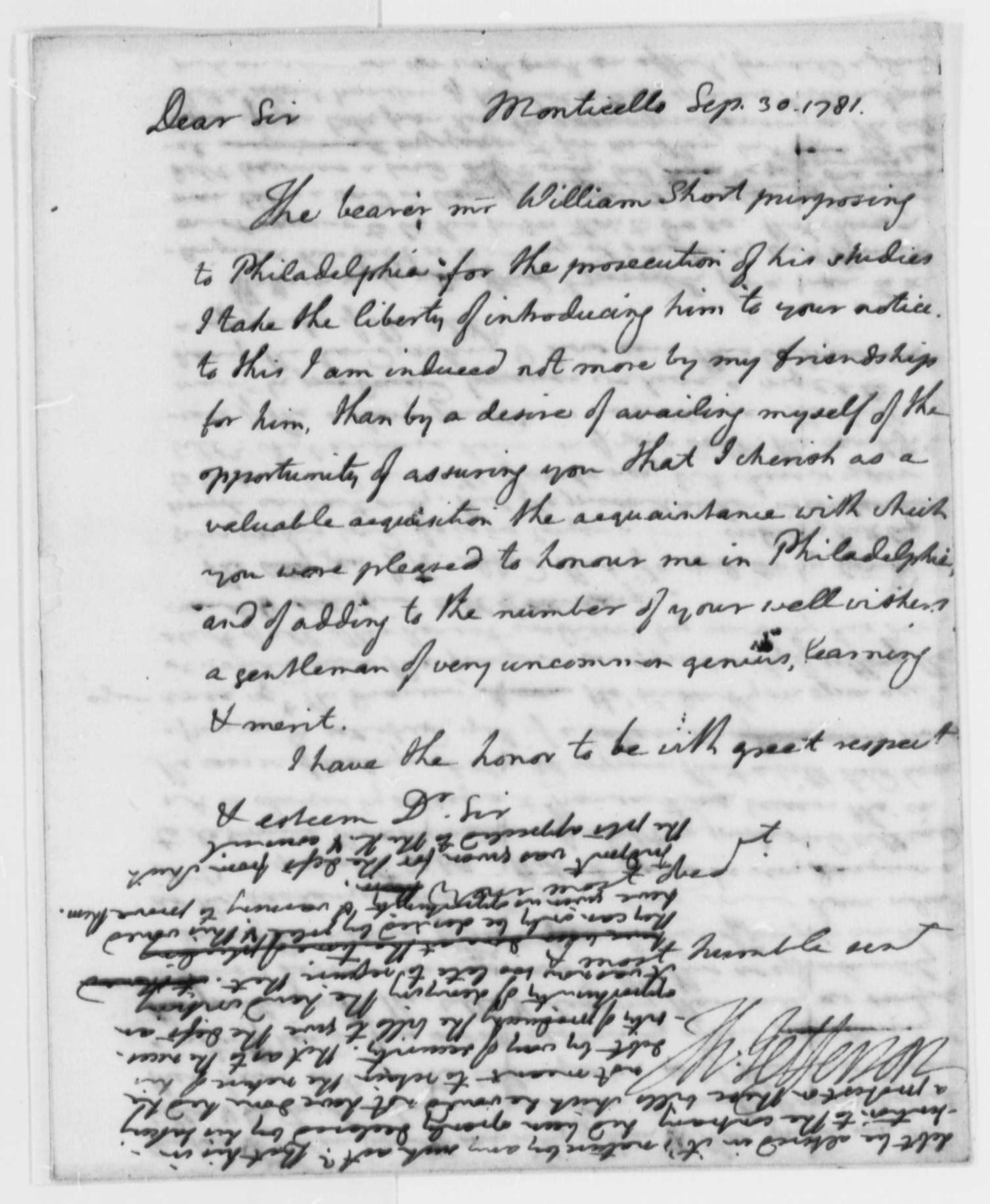 thomas jefferson to robert morris letter of thomas jefferson to robert morris 30 1781 letter of introduction for william short library of congress