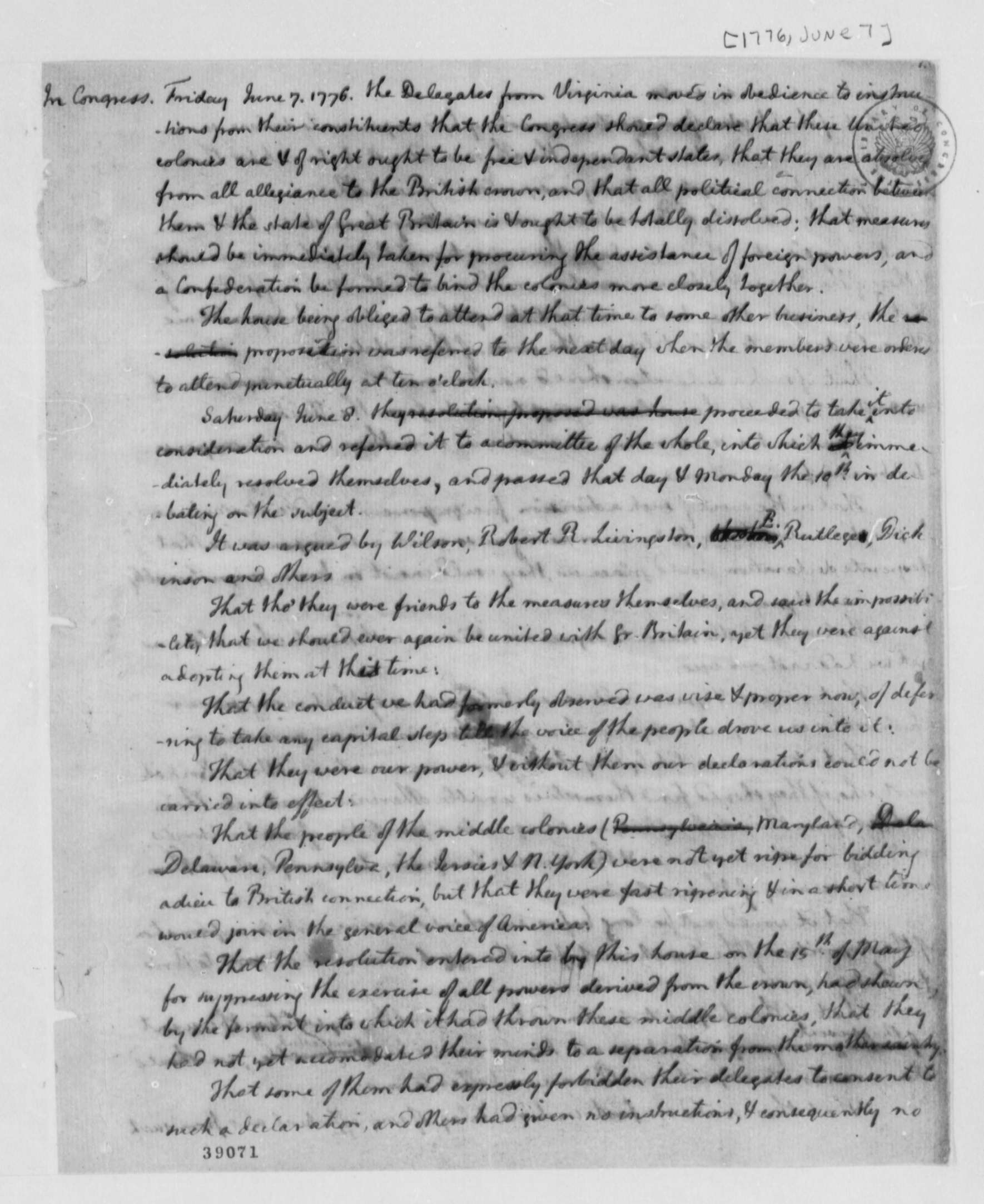 continental congress 7 1776 notes on debates and continental congress 7 1776 notes on debates and proceedings on declaration of independence and articles of confederation library of congress