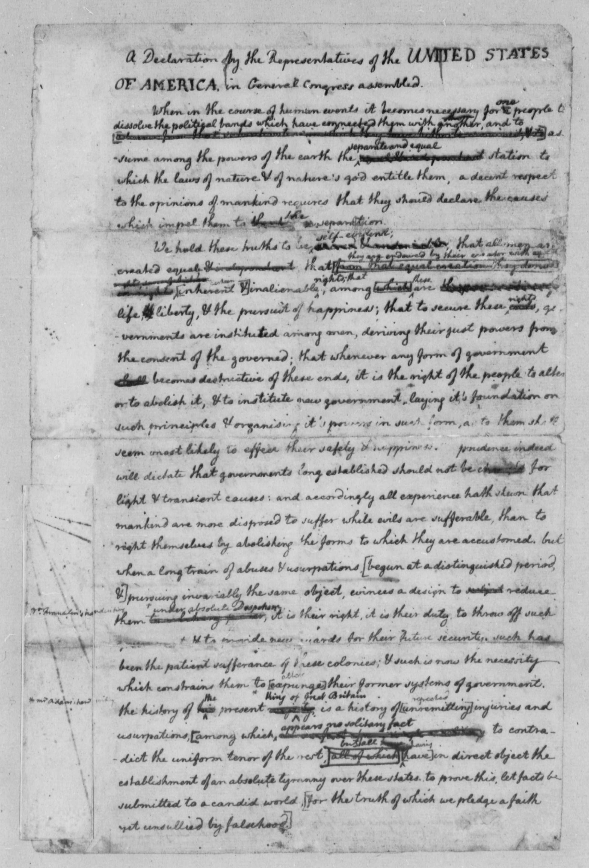 thomas jefferson rough draft of the declaration of thomas jefferson 1776 rough draft of the declaration of independence library of congress