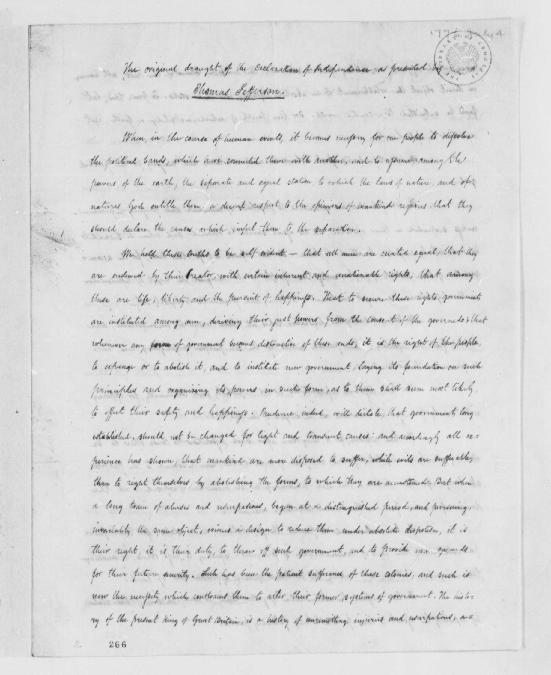 thomas jefferson et al copy of declaration of thomas jefferson et al 4 1776 copy of declaration of independence library of congress