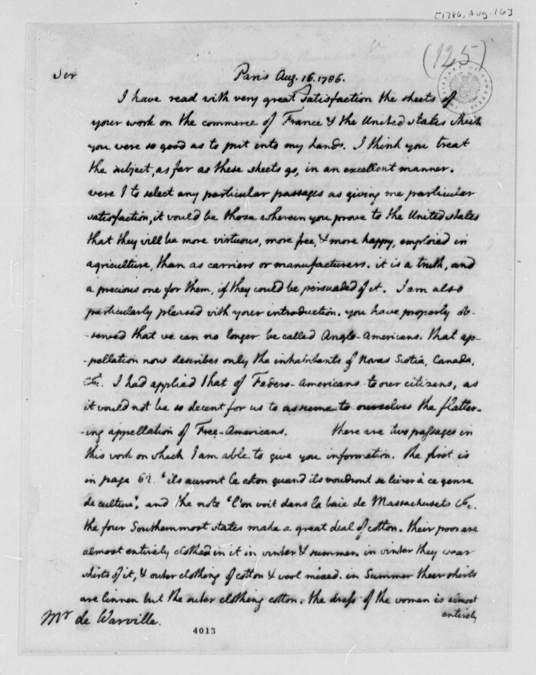 thomas jefferson to jean plumard brissot de warville  thomas jefferson to jean plumard brissot de warville 16 1786 library of congress