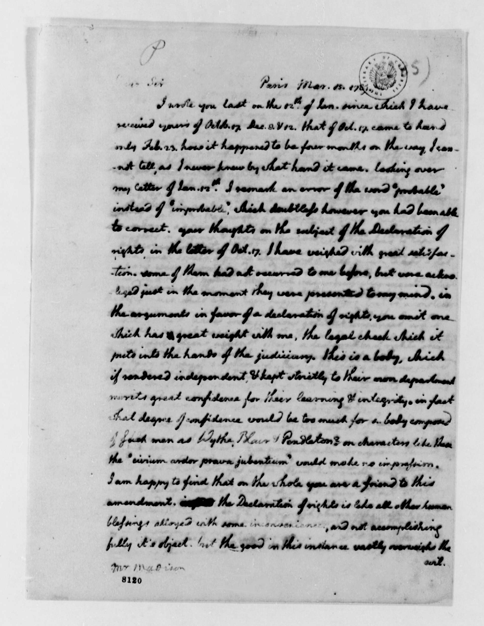 thomas jefferson to james madison library of thomas jefferson to james madison 15 1789 library of congress