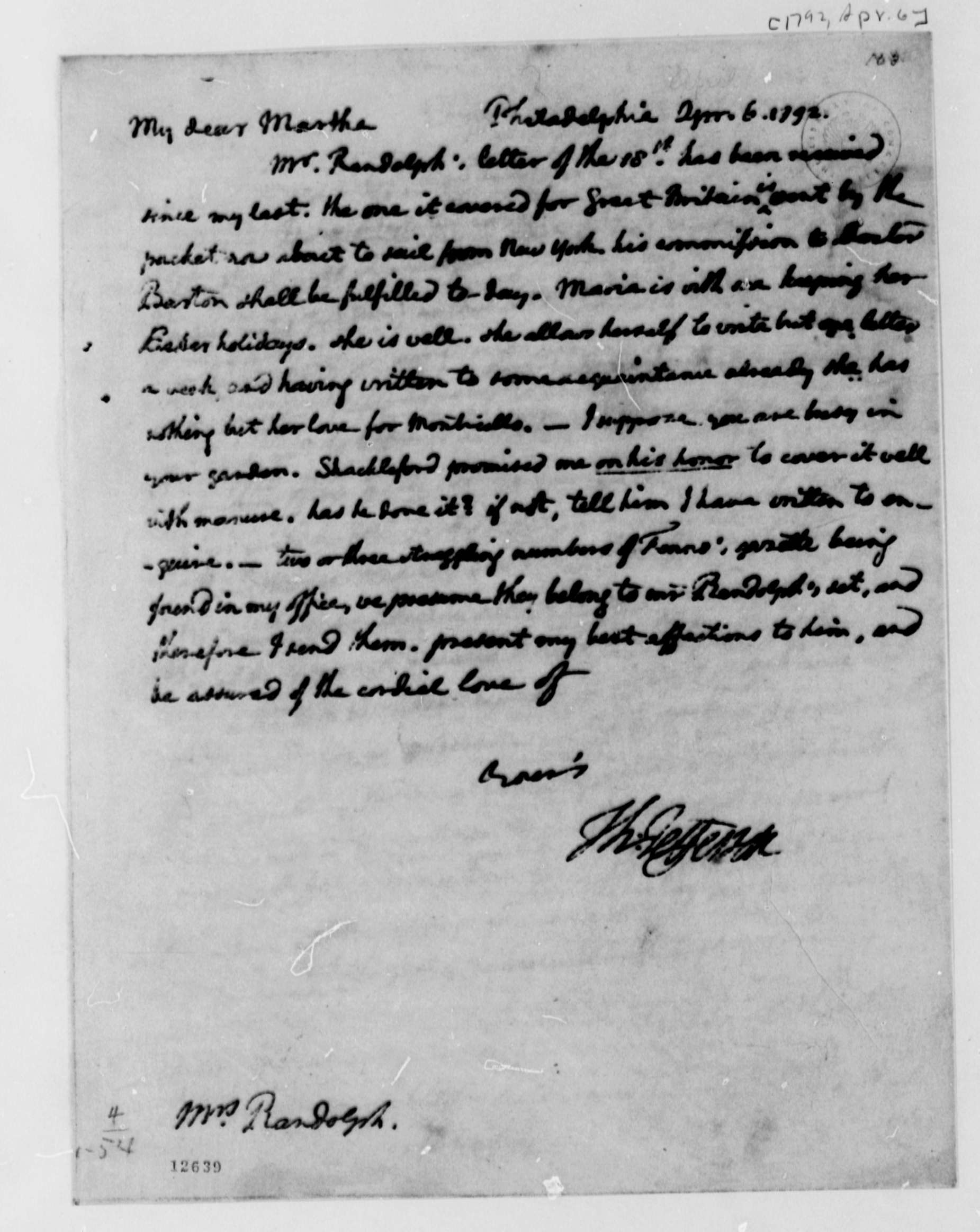 thomas jefferson to martha jefferson randolph  thomas jefferson to martha jefferson randolph 6 1792 library of congress