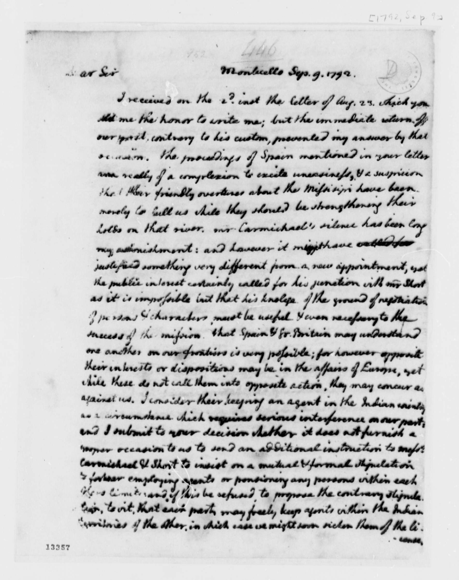 thomas jefferson to george washington library thomas jefferson to george washington 9 1792 library of congress