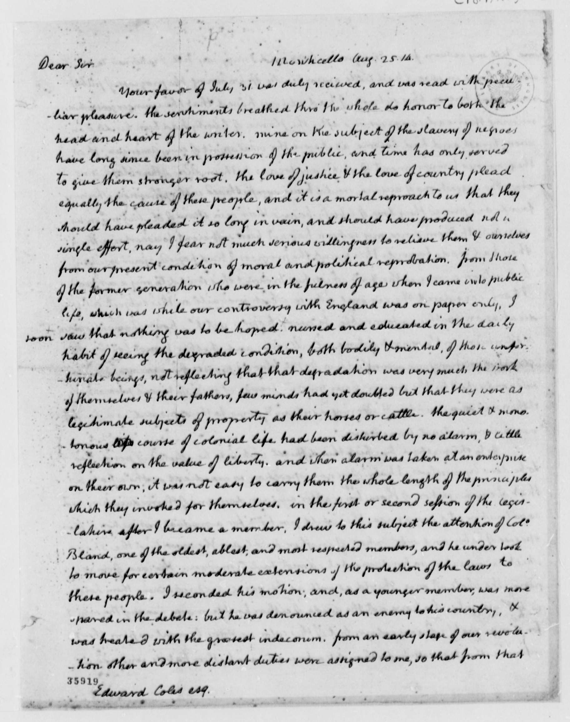 thomas jefferson to edward coles library of thomas jefferson to edward coles 25 1814 library of congress