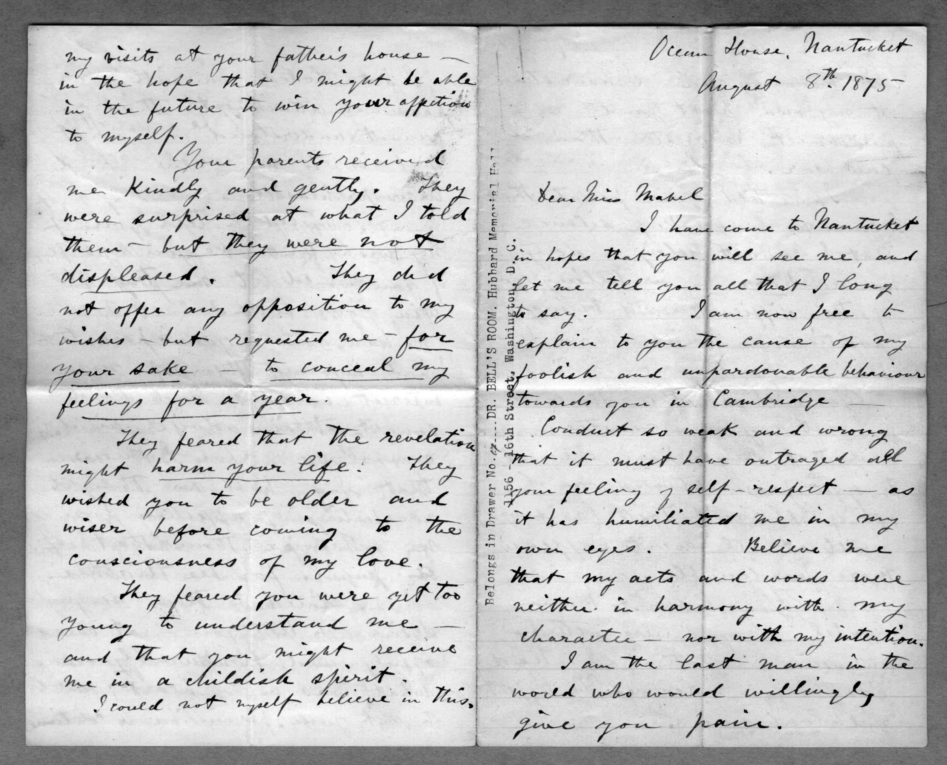 letter from alexander graham bell to mabel hubbard bell  letter from alexander graham bell to mabel hubbard bell 8 1875 library of congress