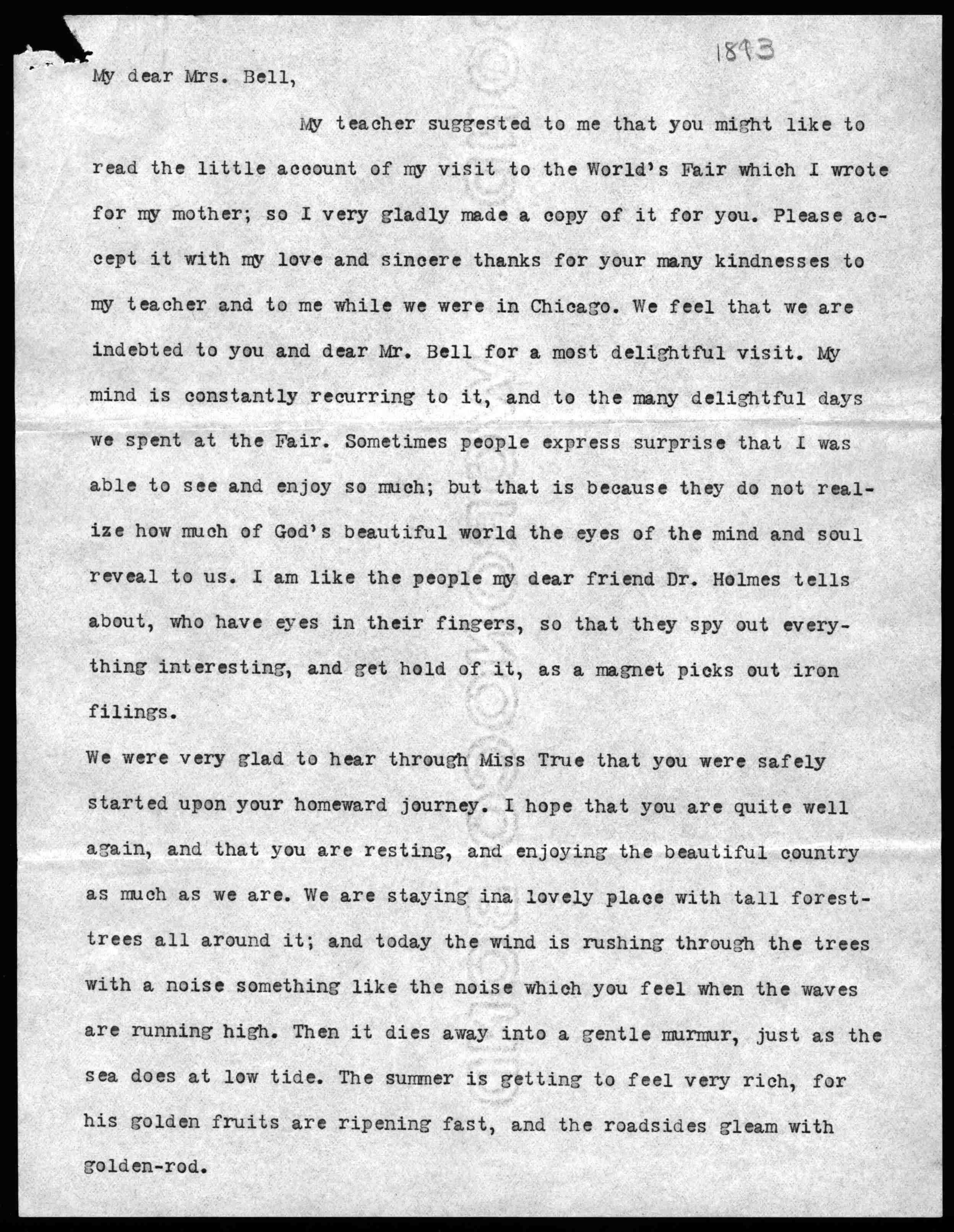 letter from helen keller to mabel hubbard bell  letter from helen keller to mabel hubbard bell 20 1893 library of congress