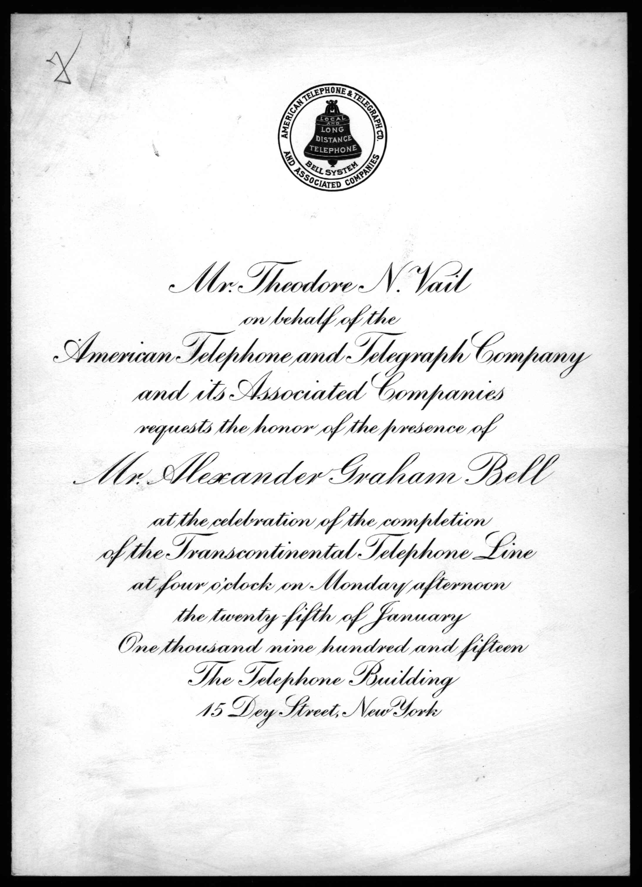 Invitation From Theodore N Vail To Alexander Graham Bell