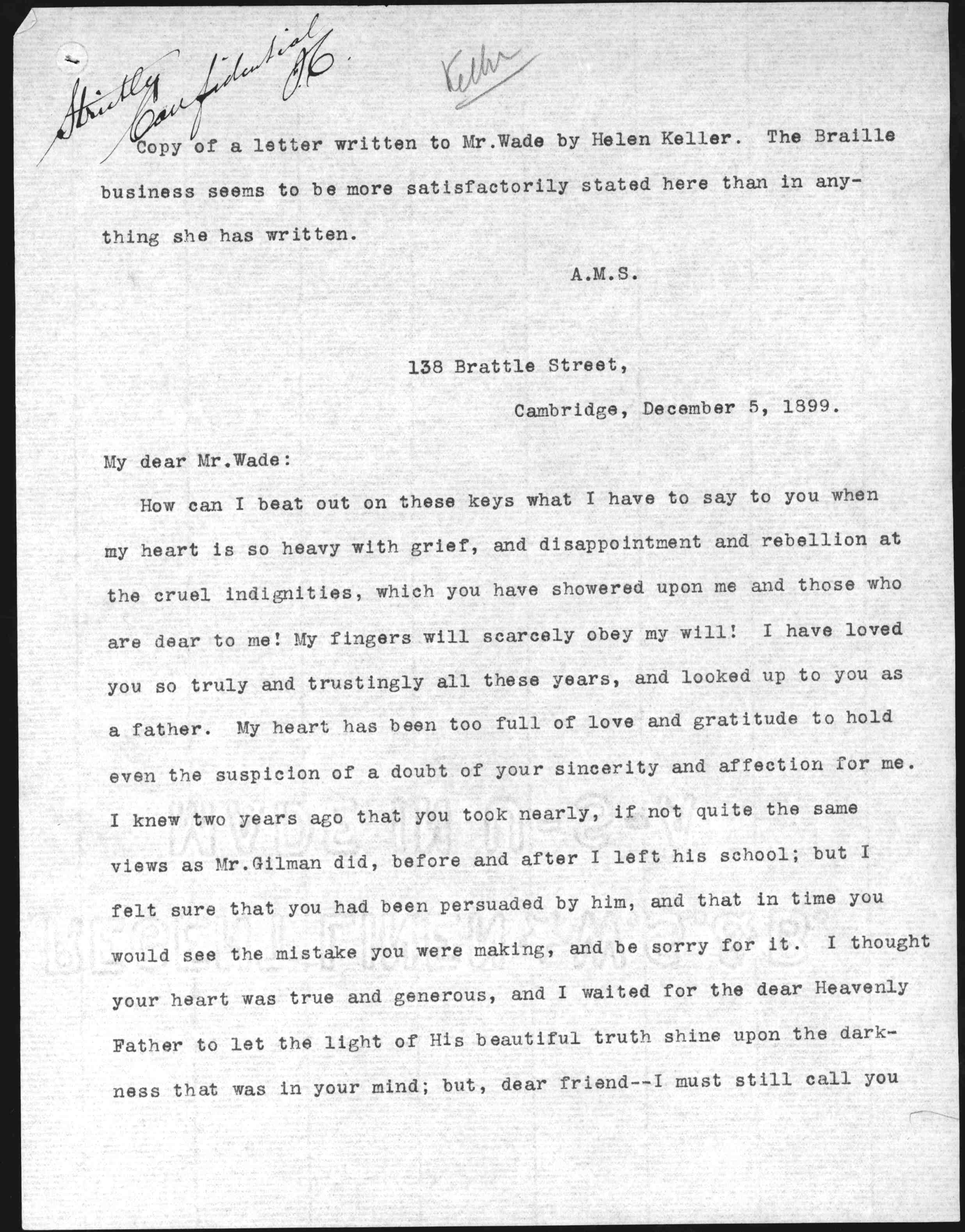letter from helen keller to william wade  letter from helen keller to william wade 5 1899 library of congress