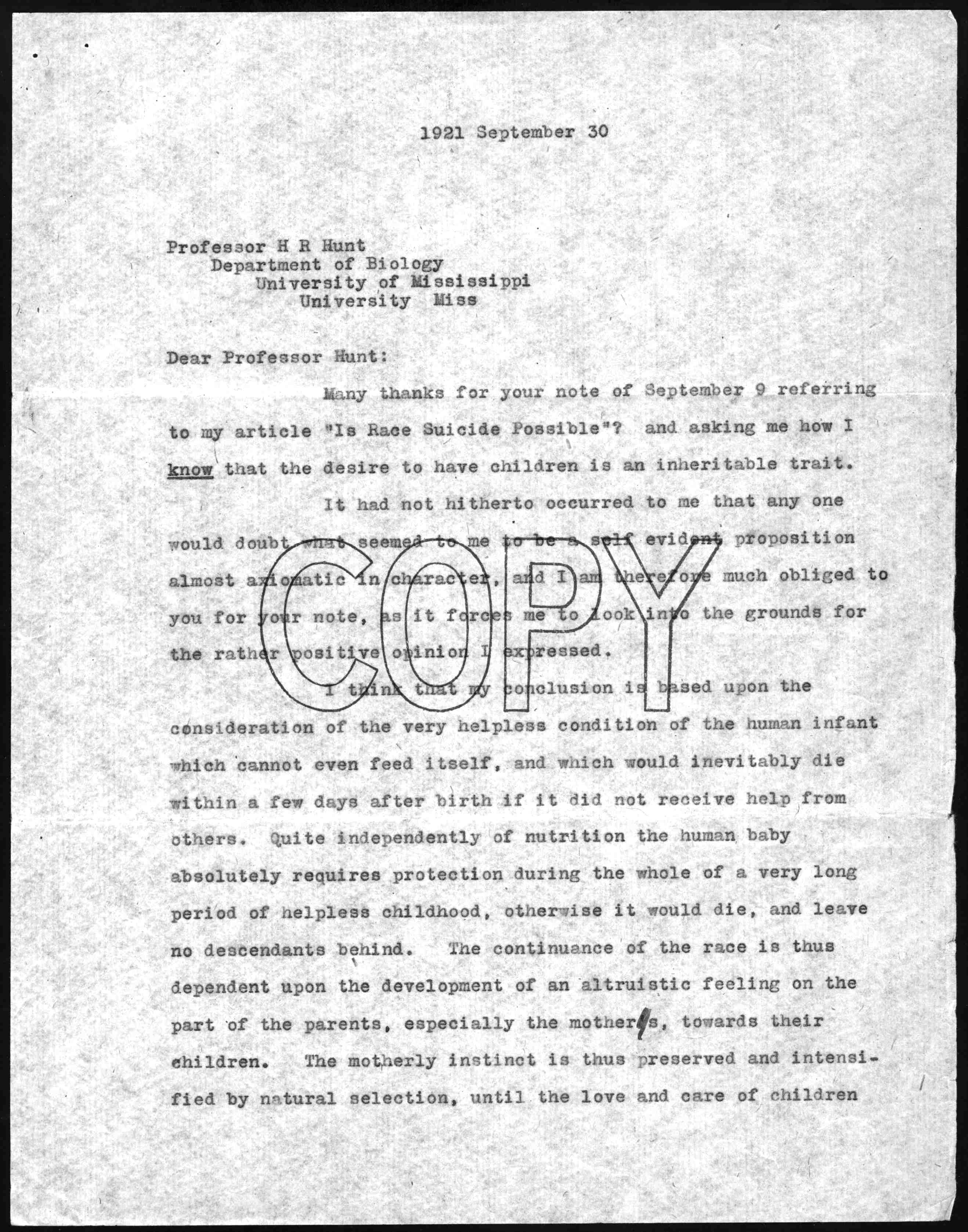 Letter to h r hunt september 30 1921 library of congress madrichimfo Gallery