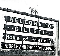 Sign on outskirts of Gillett promoting Coon Supper