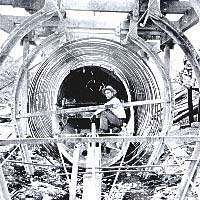 Worker inside tunnel construction
