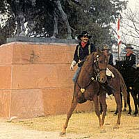U.S. Cavalry Troop B practices drills at Fort Lowell Park