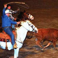Champion team ropers at PRCA Rodea, August 1999