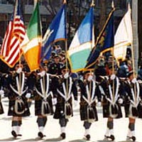 New Haven Police Dept. color guard and marchers, 1998