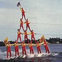 "Water-skiers in ""pyramid"" formation"