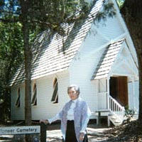 Annette Holt portrays Mabel Sims at Mary's Chapel, October 1999