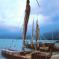 Three canoes at the Kualoa, Oahu, sailing canoe gathering, 1995
