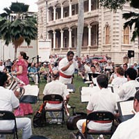 Royal Hawaiian Band plays at `Iolani Palace, 1999