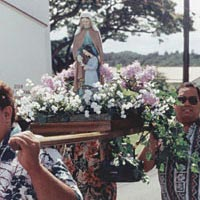 Procession members carry statue of Virgin Mary, honored during 2nd Dominga