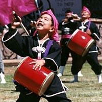 Young Okinawan Taiko performer, 1998