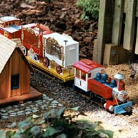 A model circus train chugs through a backyard garden