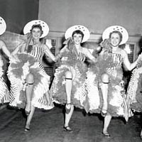 5 members of the Floradora Sextette entertain in the Schweitzerfest Brau Garten, August 2, 1960