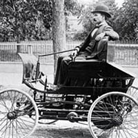 Elwood Haynes in his first car 1894