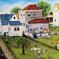 "Painting entitled ""Marijana's Backyard,"" 1974"