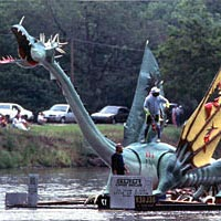 Raft decorated like a dragon drifts down the Arkansas River, 1992