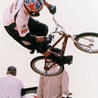 Bicycle stunt rider competing in ESPN X-Trials, 1999