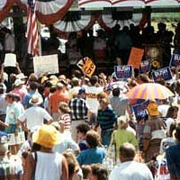 Crowd listens to politicians at Fancy Farm Picnic