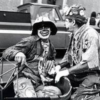Clowns entertain in Tater Day Parade, 1974