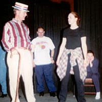 Getting ready to rehearse a dance number, April 15, 1999
