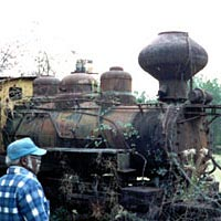 Old wood-burning logging engine #202