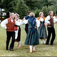 'Revontulet' folk dancers at Summer Festival, July 1985