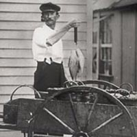 Ocean city fish monger Hazard Taylor displaying his wares, 1913