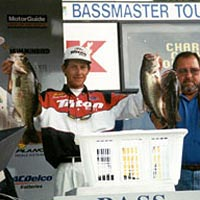 Bass pro Kevin Worth displays his winning catch