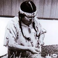 Chippewa basket maker, Harvest Day, 1972
