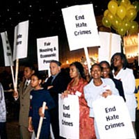 NAACP Youth Council protesting hate crimes at the 1999 dinner